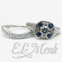 Gorgeous Sapphire and Diamond Wedding Set