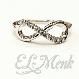 Attractive Infinity Ring with Diamonds