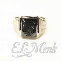 Intaglio Hematite Mens Estate Ring