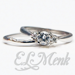 Diamond 3 Stone Wedding Set