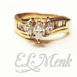 3 Stone Diamond Wedding Set
