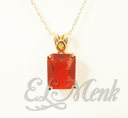 Cherry Orange Fire Opal Pendant
