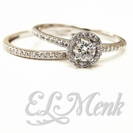Beautiful Halo Diamond Wedding Set