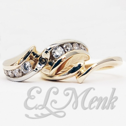 Gorgeous Two Tone Semi-Mount Wedding Set